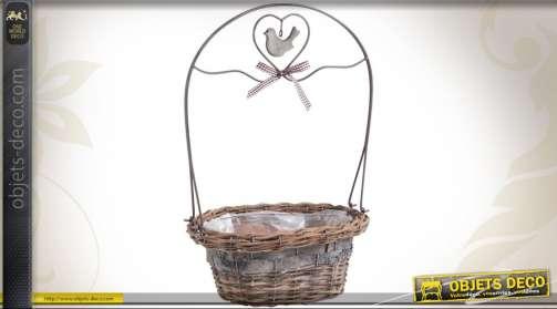 Jardinière romantique en osier et métal