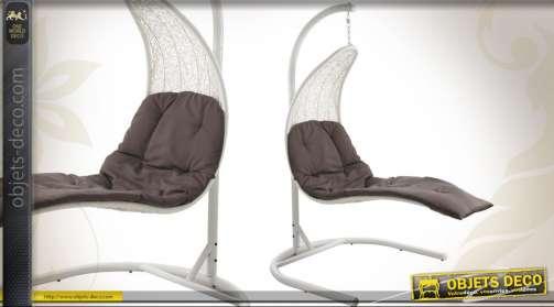 Balancelle en résine avec socle acier blanc et coussin d'assise imperméabilisé