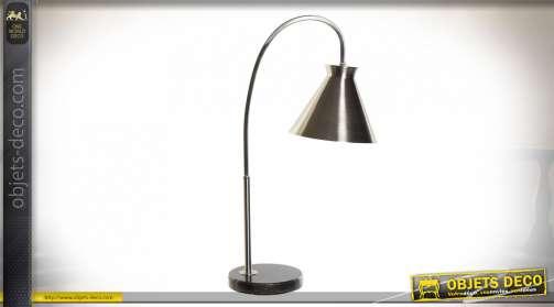 LAMPE DE TABLE MÉTAL MARBRE 28X15X57 ARGENTÉ