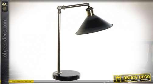 LAMPE DE TABLE MÉTAL MARBRE 28X15X48 ARGENTÉ