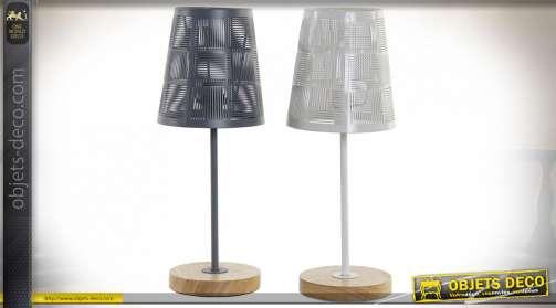 LAMPE DE TABLE MÉTAL BOIS 14X14X37 2 MOD.