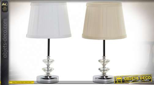 Série de deux lampes de chevet avec pieds en métal finition chromé et translucide, ambiance chic, Ø22cm