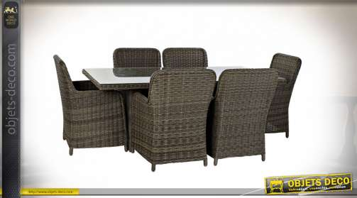 TABLE SET 7 ROTIN SYNTHÉTIQUE 200X100X75 5 MM. EXT