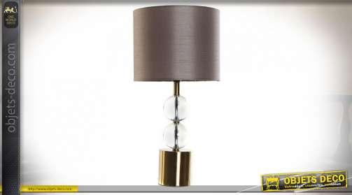 LAMPE DE TABLE MÉTAL VERRE 25X25X50 BOULES DORÉ