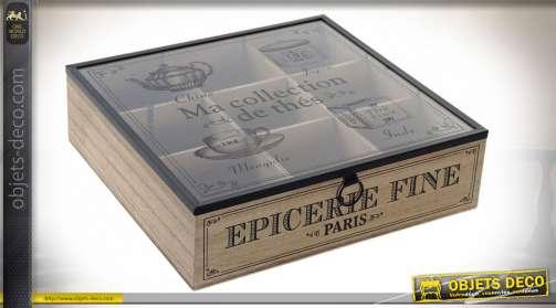 Boite à infusions en bois ambiance salon de thé rétro, couvercle en verre avec inscriptions en noir charboneux, 24cm