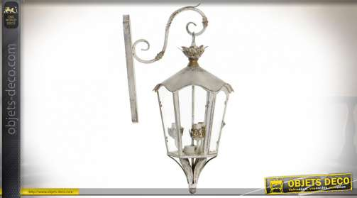 LAMPE APPLIQUE MÉTAL VERRE 43X50X83 VIEILLI CRÈME