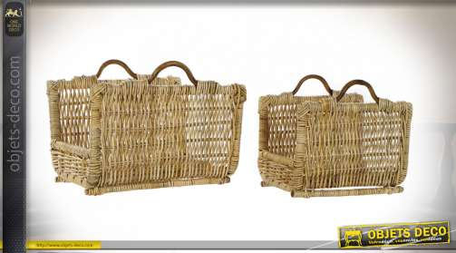 PORTE BÛCHES SET 2 ROTIN 50X40X32 NATUREL MARRON