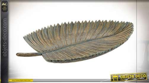 Centre de table en forme de feuille tropicale, finition bronze vieilli en résine, 39cm