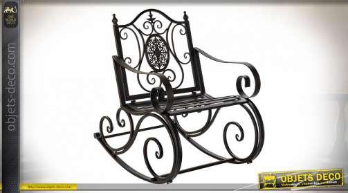 Fauteuil de jardin rocking-chair finition noir en métal et fer forgé style rétro