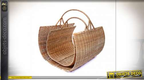 PORTE BÛCHES SET 2 ROTIN 40X27X40 NATUREL MARRON