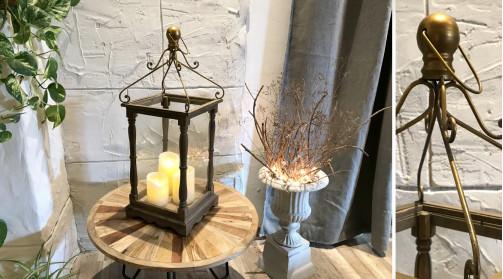 Lanterne de style réro en bois avec socle mouluré et montants en bois tourné