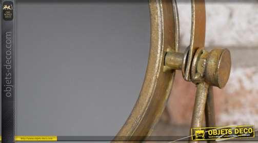 Miroir de table en métal esprit rétro, forme ronde sur pieds, inclinable