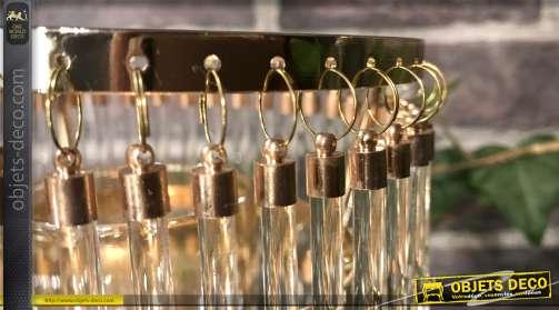 Bougeoirs en métal et verre esprit lustre à pampilles forme de bâtonnets