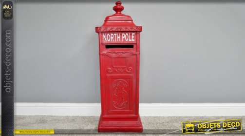 Boite aux lettres type colonne d'inspiration anglaises avec inscription North Pole finition rouge