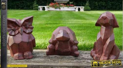 Tortue en composite imitation pierre finition brun foncé effet vieilli, collection origami