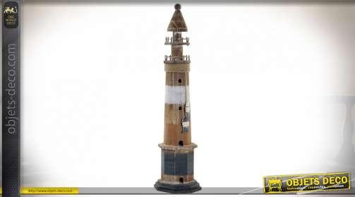 Grand phare marin en bois effet usé avec corde et mobile de poisson, ambiance bord de mer ancienne, 71cm