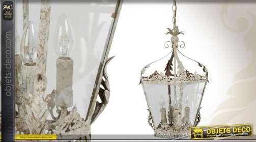 Lanterne patine blanc antique électrifiée avec 4 feux