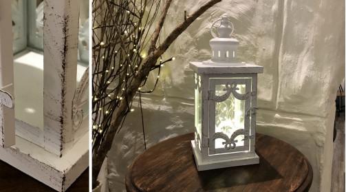 Lanterne de table ou à suspendre, en métal finition effet ancien, style romantique