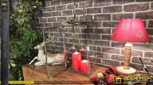 Lanterne rectangulaire en métal de style moderne finition chromé, grande anse, 46.5cm de haut
