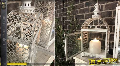 Lanterne en métal style tuteur pour plante grimpante, en métal très ajouré, 57cm de haut