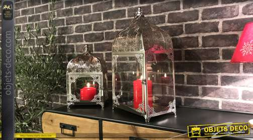 Set de deux lanternes en métal finition chromé esprit oriental de forme rectangulaire