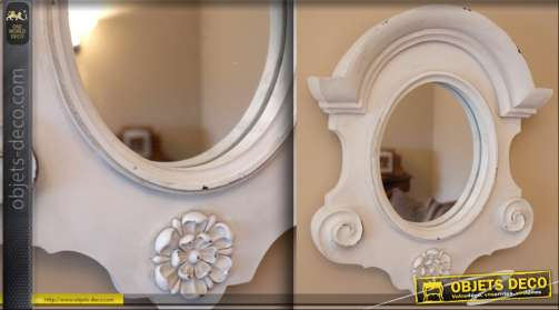 Miroir ovale oeil de boeuf encadrement blanc antique