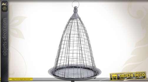 Jardinière suspendue en zinc en forme de cage-corbeille