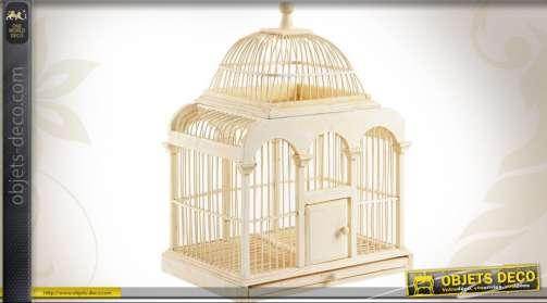 Cage à oiseaux décorative en bambou patiné