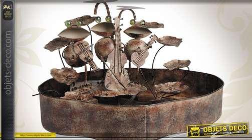 Fontaine orchestre de grenouilles en métal finition oxydée avec pompe à eau et éclairage