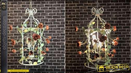 Lustre cage à oiseau en métal avec roses grimpantes, finition vintage, 20 roses