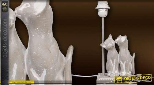 Pied de lampe déco statuette d'un couple de chats