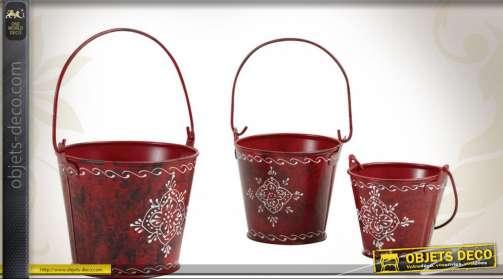 Ensemble de trois seaux décoratifs en métal à utiliser comme petites jardinières