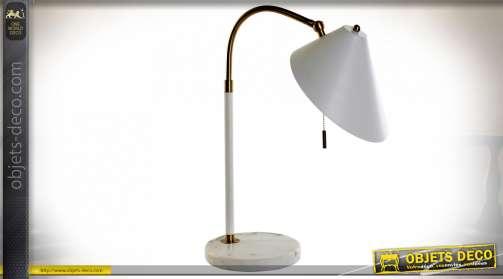 LAMPE DE TABLE MARBRE MÉTAL 49X20X53 BLANC
