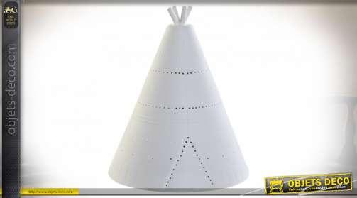 LAMPE DE TABLE PORCELAINE 18X18X22 TIPI BLANC