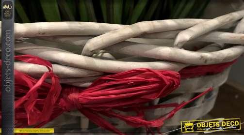 Cache-pot décoratif en osier gris clair avec ruban rouge