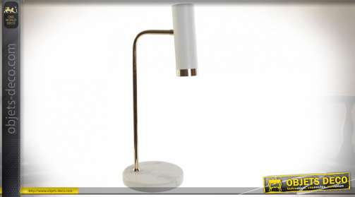 LAMPE DE TABLE MARBRE MÉTAL 18X18X50 BLANC