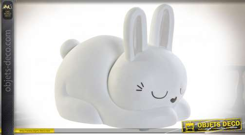 LAMPE DE TABLE PORCELAINE LED 17X11X12 PETIT LAPIN