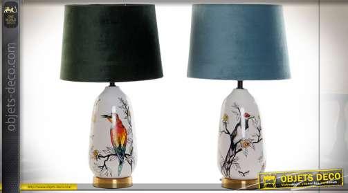 LAMPE DE TABLE GRÈS COTON 28X28X50 OISEAUX 2 MOD.