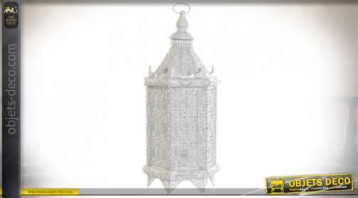 LAMPE DE TABLE MÉTAL 20X20X50 VIEILLI BLANC