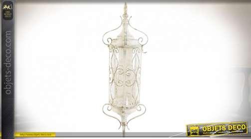 LAMPE APPLIQUE FER VERRE 22X20X64 15CM BLANC