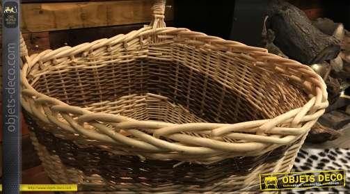 Grand chariot à bois en osier et fond en bois, structure métallique, effet bande sur la partie frontale