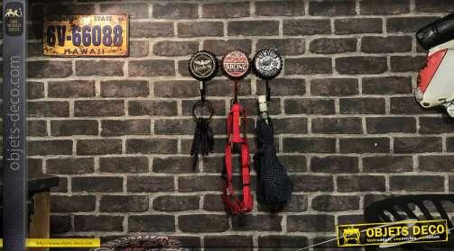 Série de 3 crochets muraux en forme de capsules, esprit motard et moteur, 17cm de hauteur finale