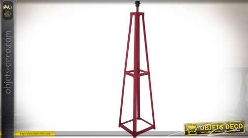 Pied de lampe de sol en métal patine rouge esprit indus 1,46 mètre