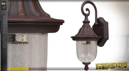 Lanterne murale électrifiée en aluminium et verre, forme applique en suspension style rétro