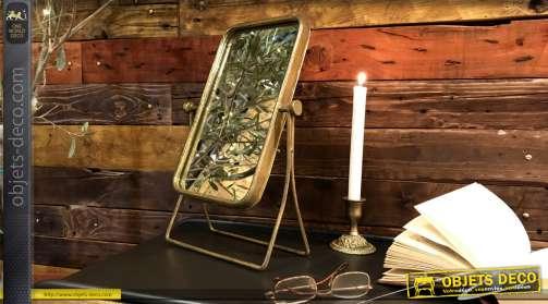 Miroir de table en métal de forme rectangulaire, style rétro 38cm