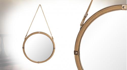 Miroir mural à suspendre en métal et corde, rivets apparents finition laiton