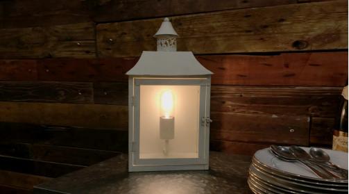 Lampe de chevet ou applique murale en métal en forme de lanterne esprit ancien, finition crème oxydée