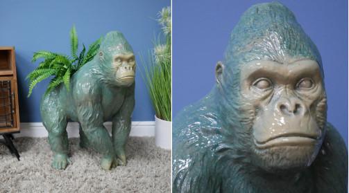 Gorille décoratif avec emplacement pour plante dans le dos, déco animalière originale