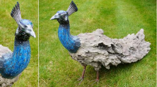 Paon décoratif en métal et magnésite, décoration de charme pour jardin ou terrasse