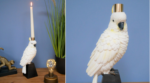 Chandelier en résine en forme de perroquet, déco originale monochrome et dorée
